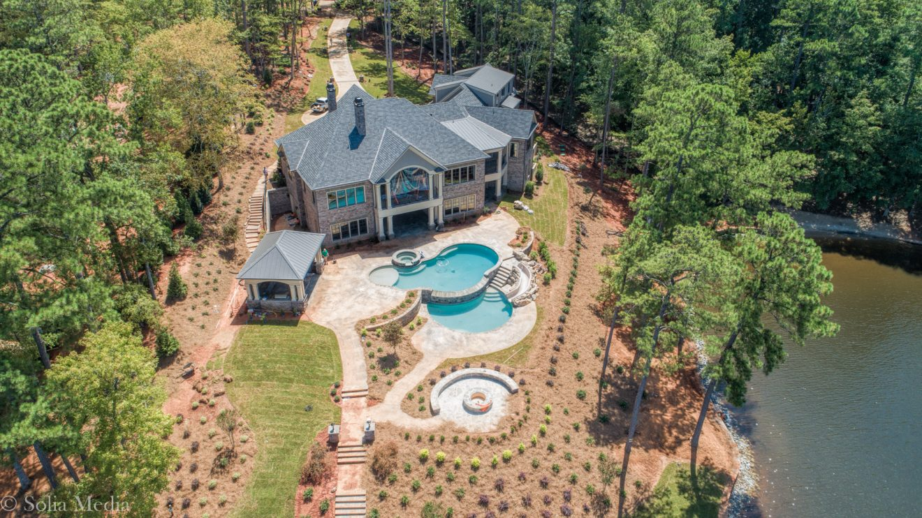 Preissless Design Interior Design - Lake Oconee property - professional drone photography by Solia Media